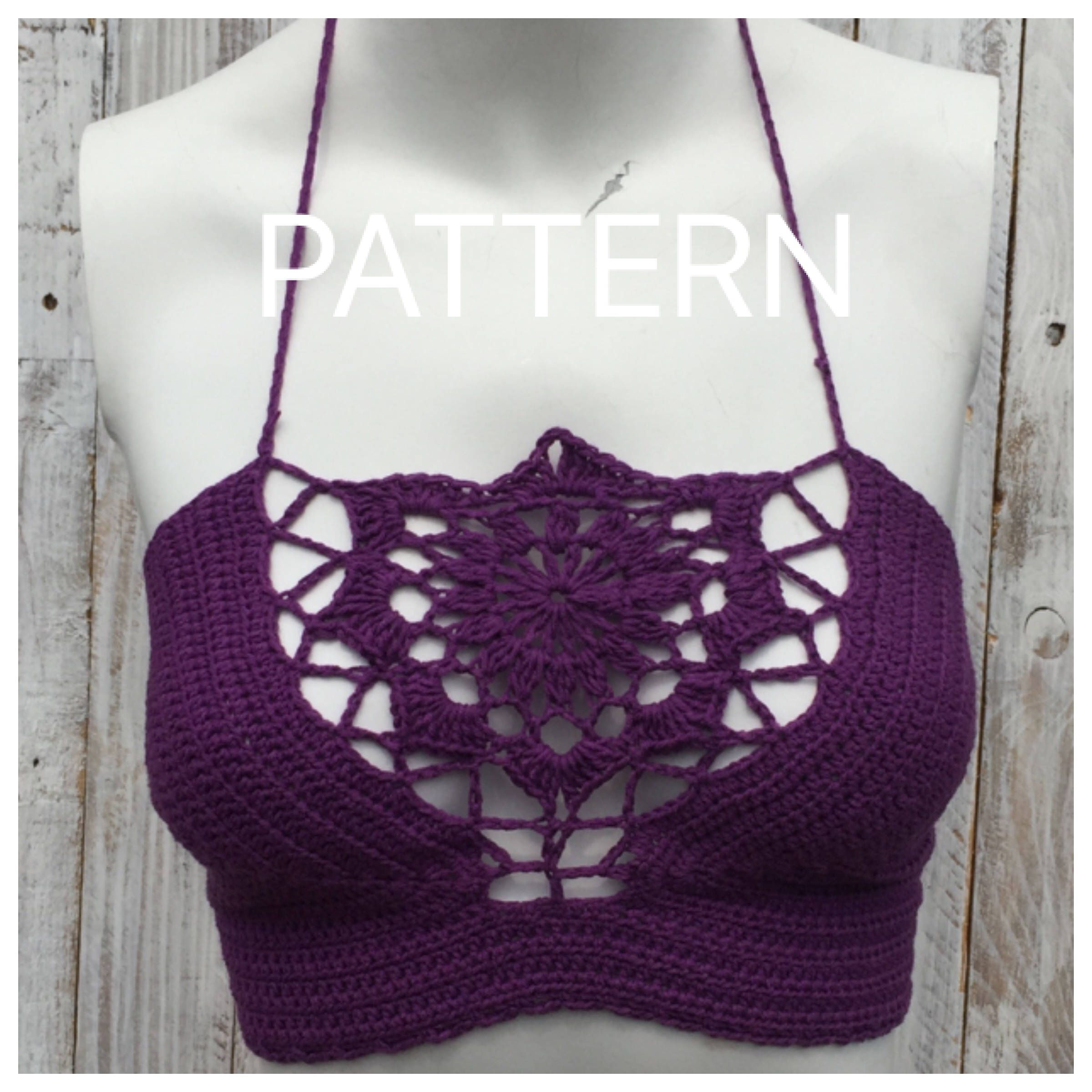 Crochet pattern, Crochet, pattern, Halter Top pattern, bikini ...