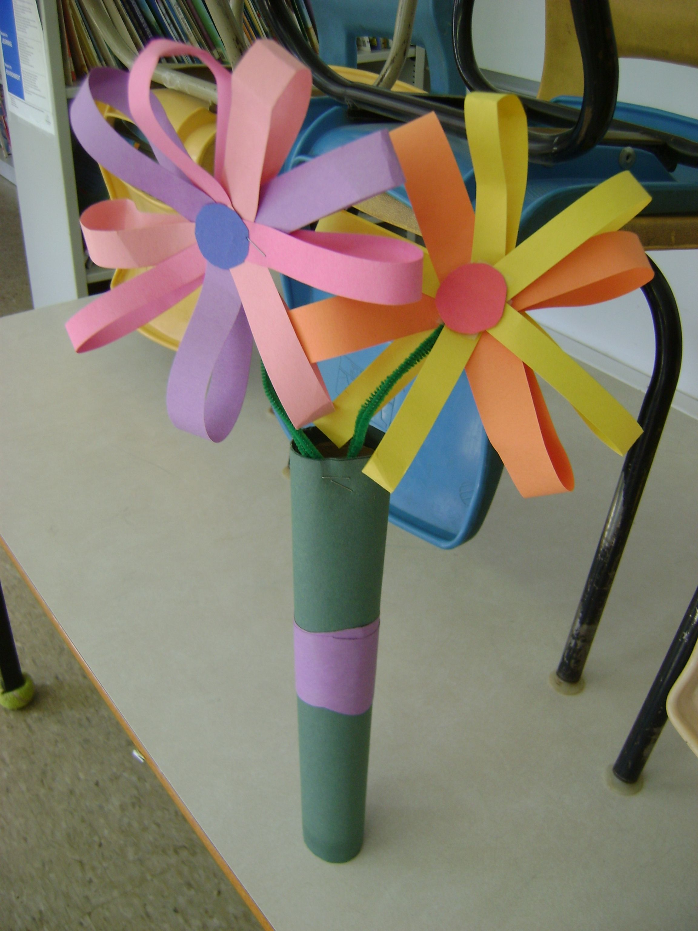 Construction paper flowers vase filled with gift wrap ribbon construction paper flower bouquet dhlflorist Images