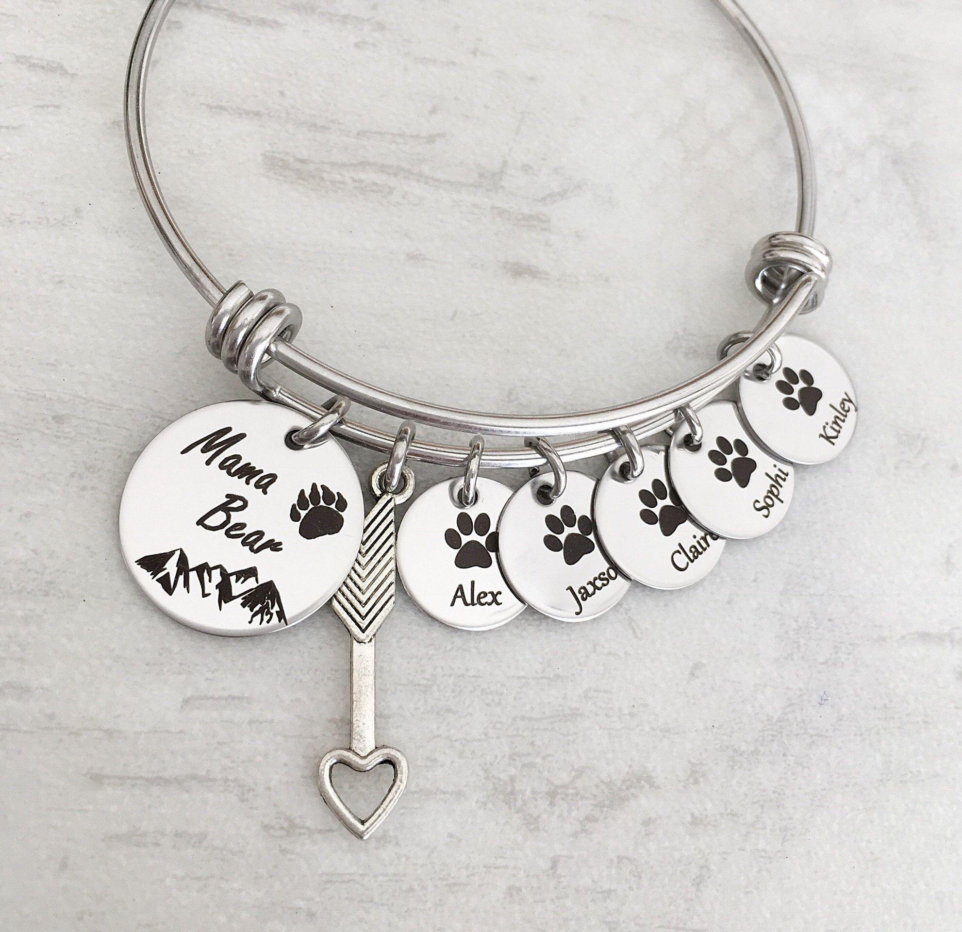 a94c8f582 Mama Bear personalized mothers bangle charm bracelet. Children's cub paw  charm. https:/