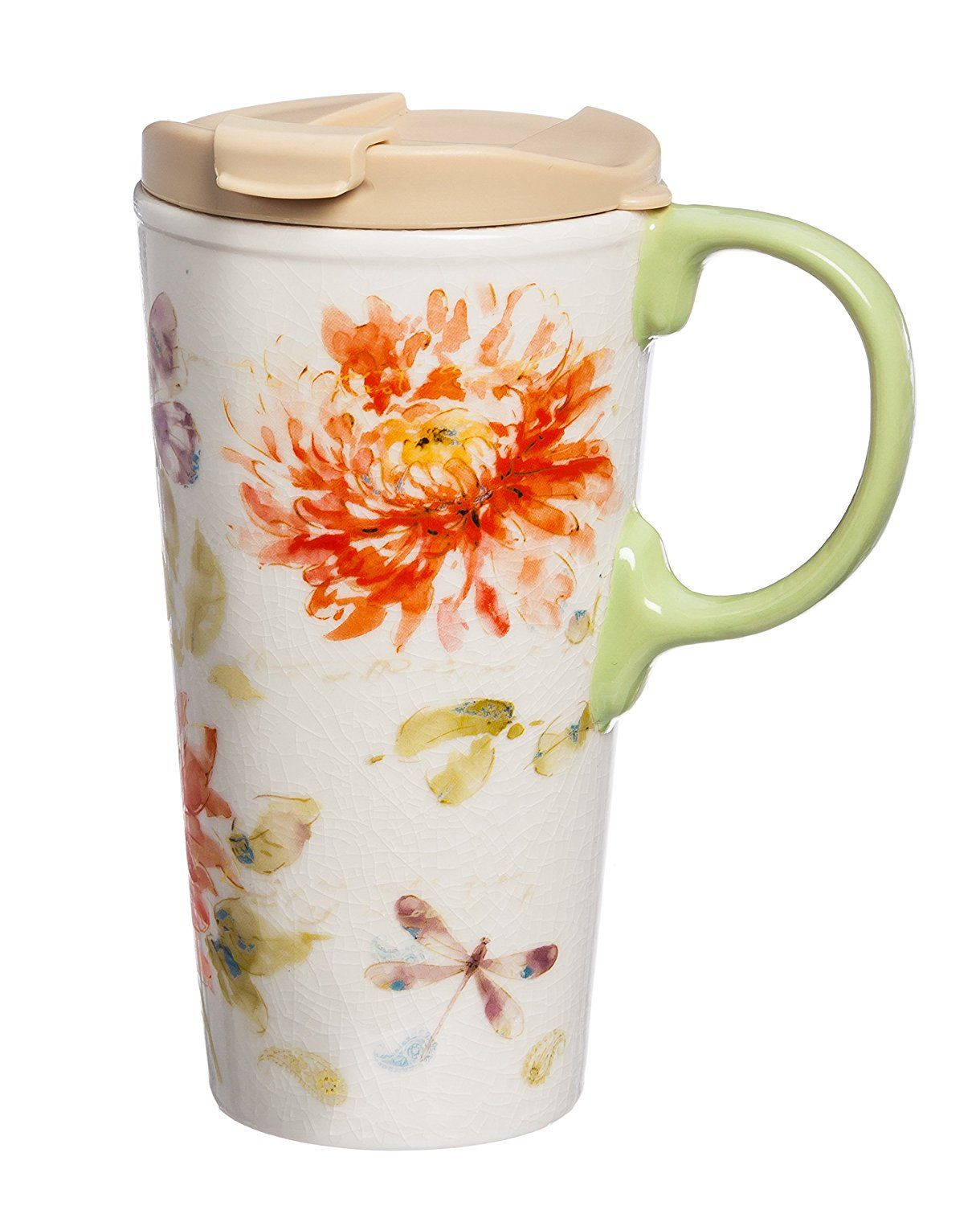 Cypress Home Watercolor Fl Ceramic Travel Coffee Mug 17 Ounces Kitchen Dining