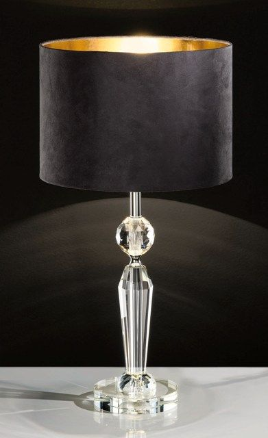 Eglo Pasiano Crystal Table Lamp With Black And Gold Lampshade 94083 Eglo Lighting Crystal Table Lamps Table Lamp Lamp