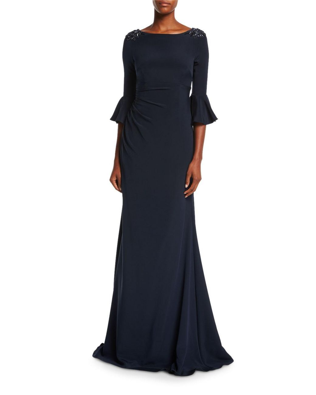 b17d0d86414 Women s Blue Boat-neck Jeweled-shoulder Ruched Crepe Evening Gown ...