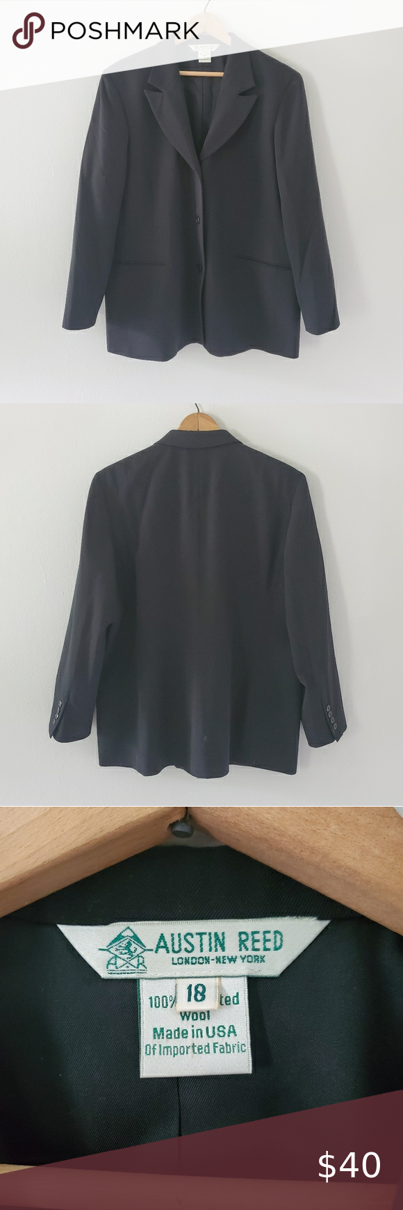 Vintage Austin Reed Black Wool Blazer In 2020 Black Wool Blazer Vintage Austin Wool Blazer