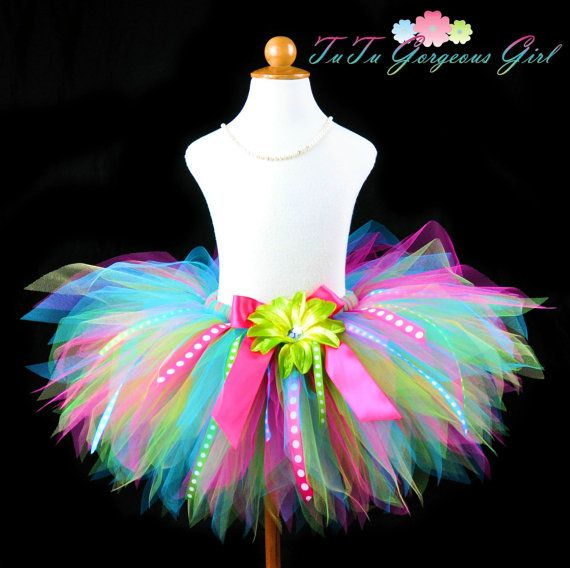 Girls Birthday Ribbon Tutu...Turquoise Hot by TutuGorgeousGirl, $42.00