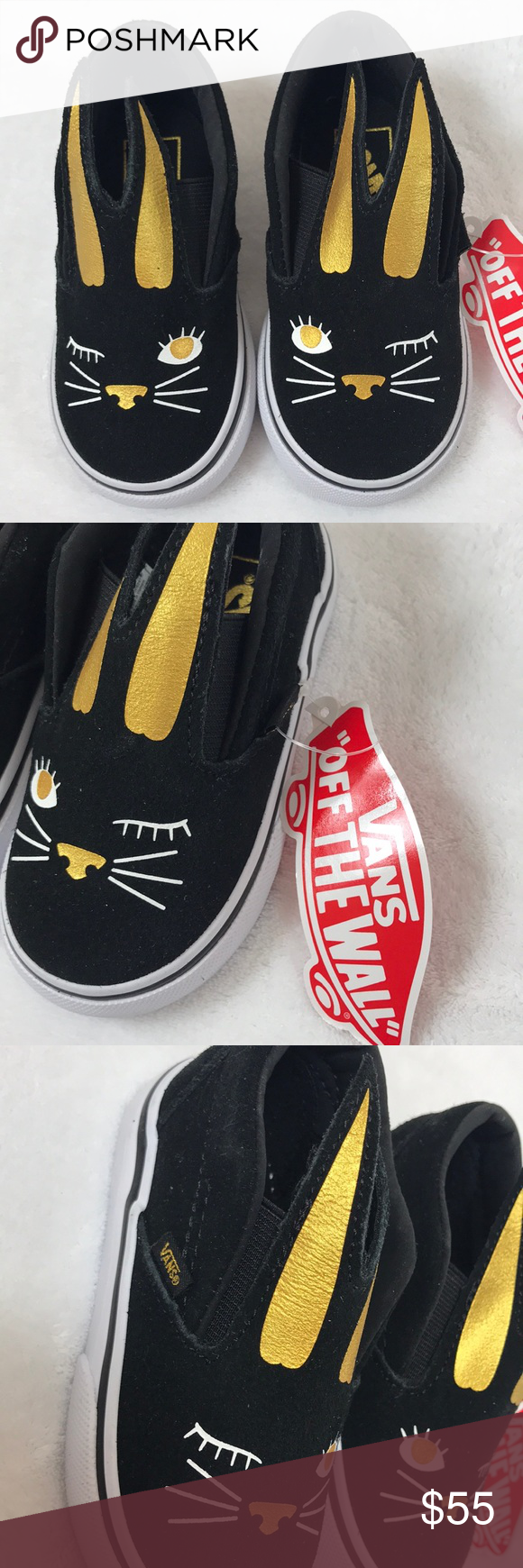 50d6ee1bf Vans Slip On Bunny Black Gold baby shoes size 5.5 Vans Slip On Bunny Black  Gold toddler baby shoes size 5.5. Winking bunny face on front of shoes.