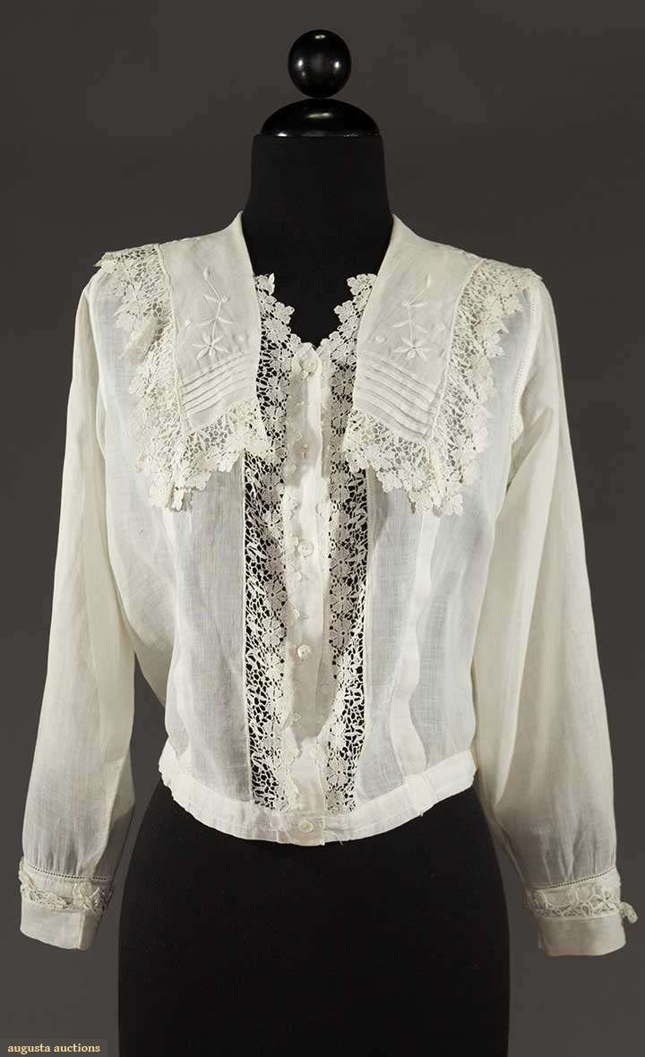 be267f28030ffa WHITE COTTON BLOUSE, 1910-1918. Find this Pin and more on Vintage ...