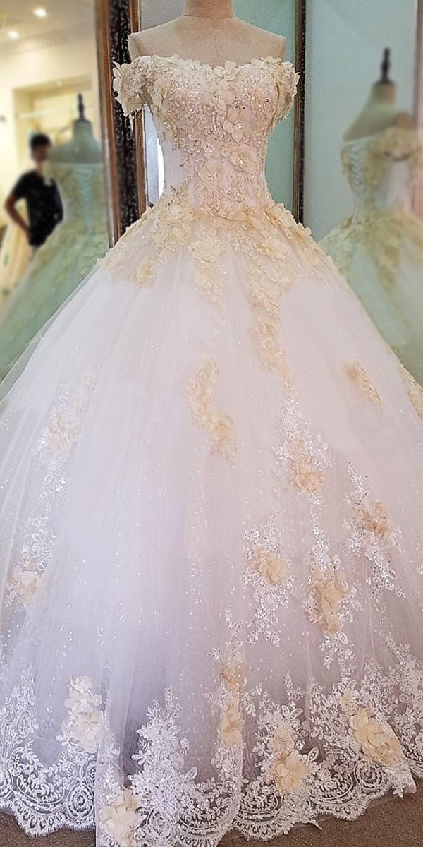 Glamouröser Tüll Off-the-Shoulder-Dekolletee Ballkleid Hochzeitskleid mit ... #tulleballgown