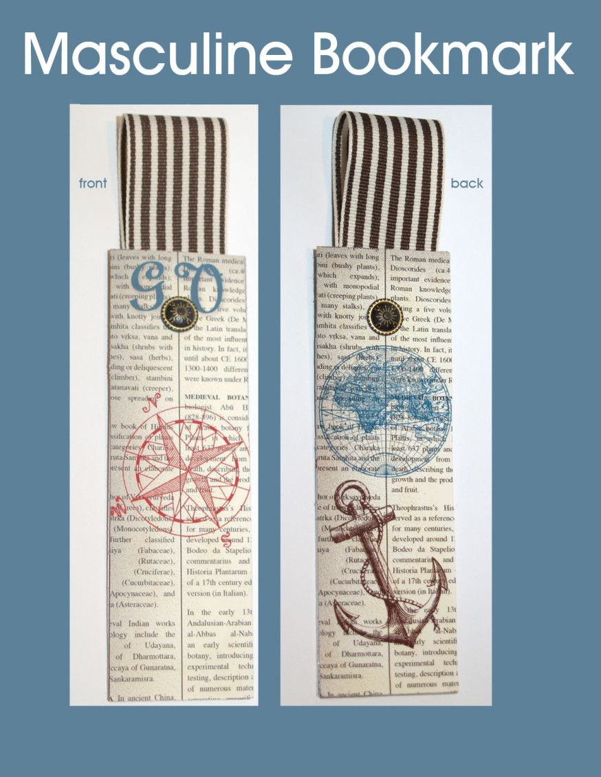 Masculine Bookmark | Stampin' by Genny's Blog