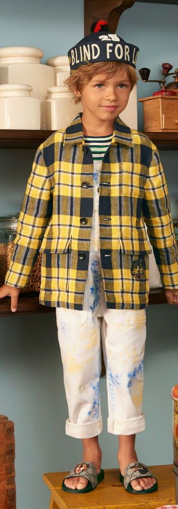 360b3233e70e2 GUCCI Boys Yellow Check Jacket   White Paint Splash Overalls for Spring  Summer 2018. Looks perfect with a blue and white stripe nautical style  shirt and ...