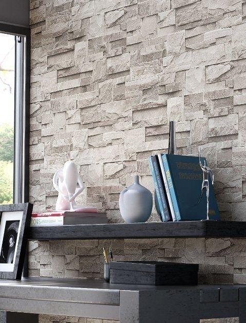 steen behang 3d grijs xx3 Home decor Pinterest Wand