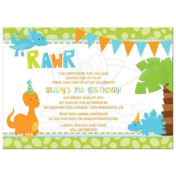 dinosaur birthday invitations template party invitation ideas