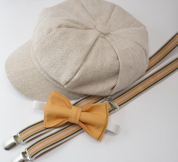 0b9e0a9798d SET Herringbone LIGHT TAN Newsboy Cap Hat   Mustard Yellow Bow Tie   Tan  Striped Suspenders   Kids Baby Page Boy   Newborn - 10 Years