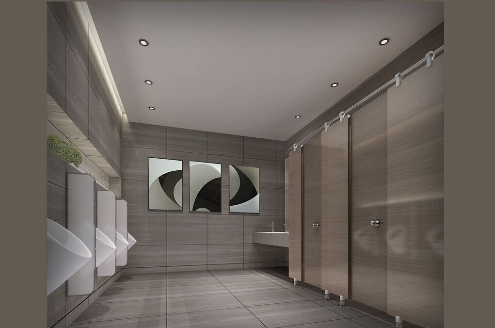Restroom design and this 3d design of public restroom c for Modern washroom designs