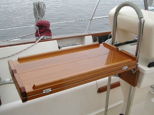 Teak And Plastic Cockpit Tables For Sailboats Boat Table Boat Interior Teak