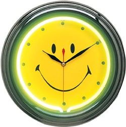 Happy Face Neon Wall Clock Happy Face Neon Clock Clock