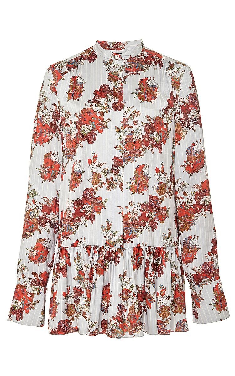 Silk Gathered Peplum Longsleeve Blouse by Thakoon Now Available on Moda Operandi