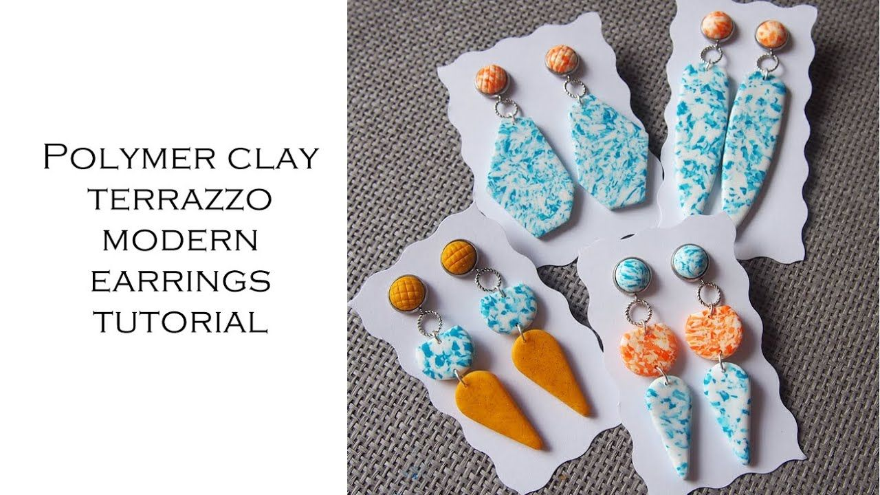 Polymer clay modern terrazzo earrings tutorial from