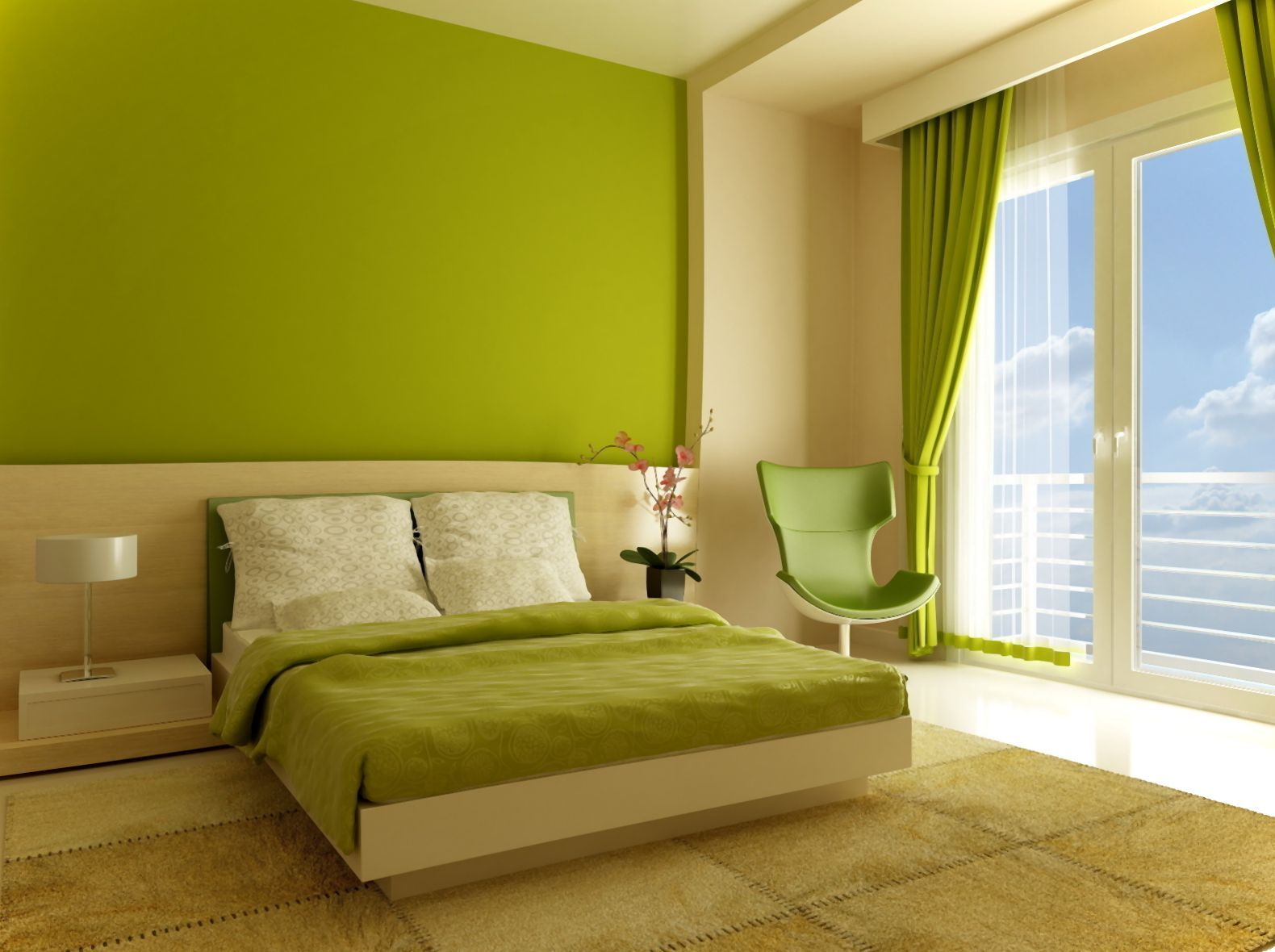 Interior Cheerful Green Bedroom Interior Decorating Idea With Minimalist Furniture And Cozy Green Chair Casual Green Colour Schemes Pictures Photos