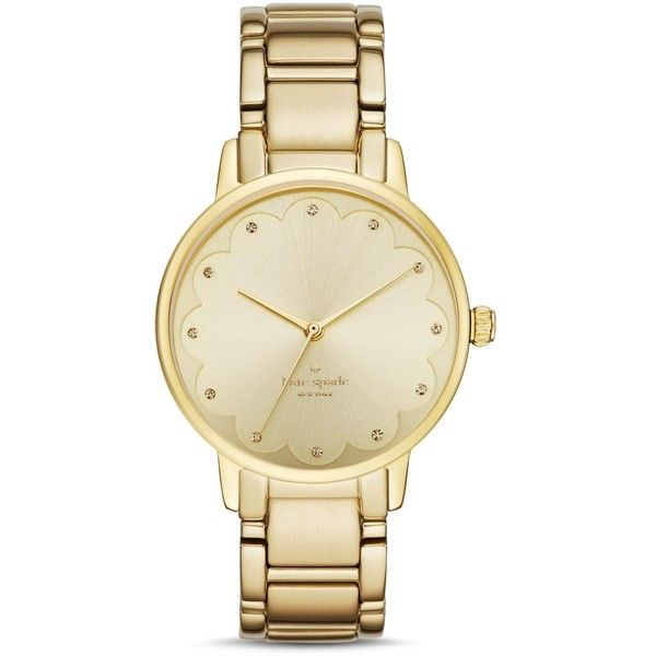 kate spade new york Scalloped Dial Gramercy Watch, 34mm found on Polyvore featuring jewelry, watches, gold, kate spade jewelry, gold jewellery, kate spade, gold watches and gold wristwatches