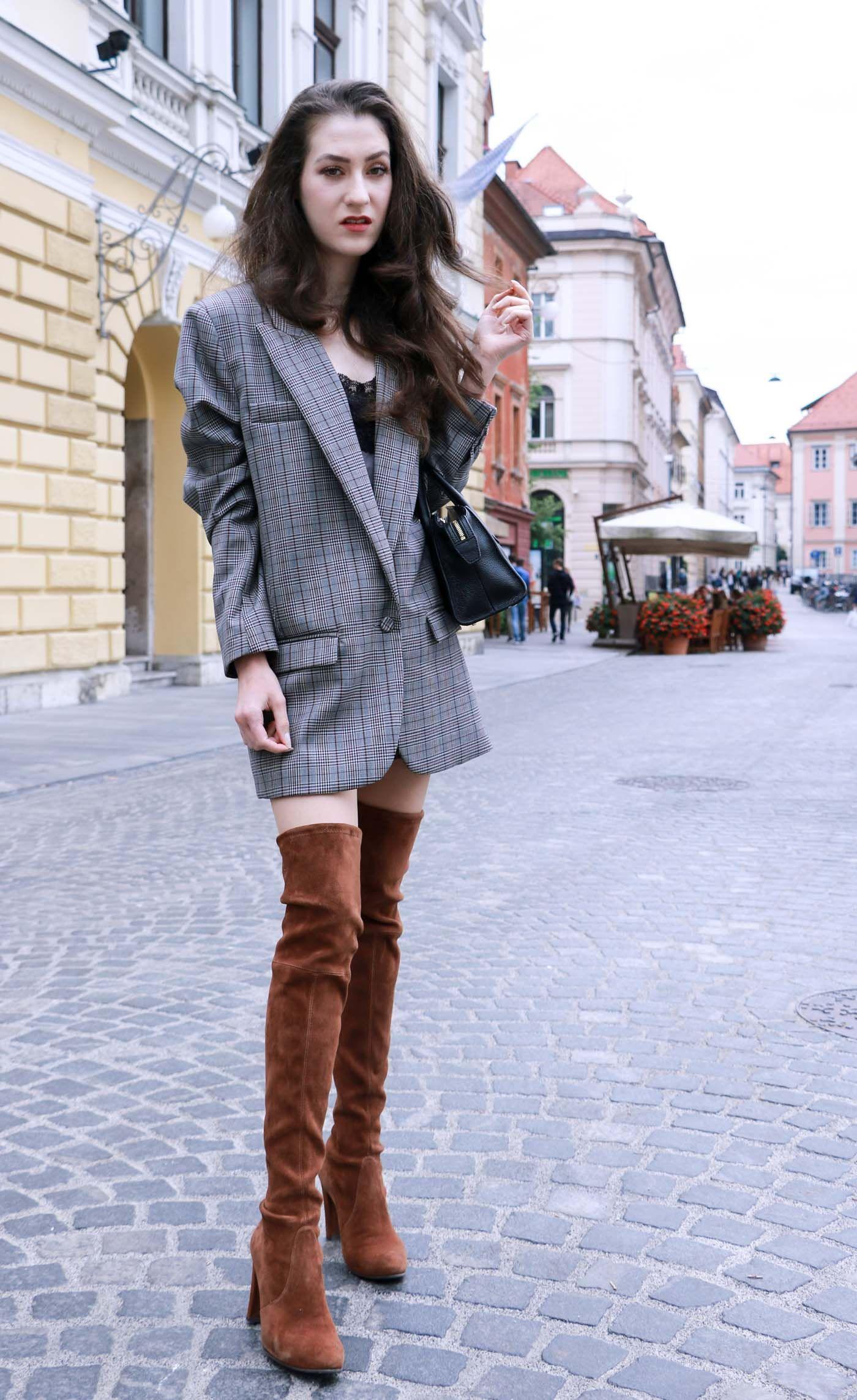 How to style otk boots with a blazer dress fashion