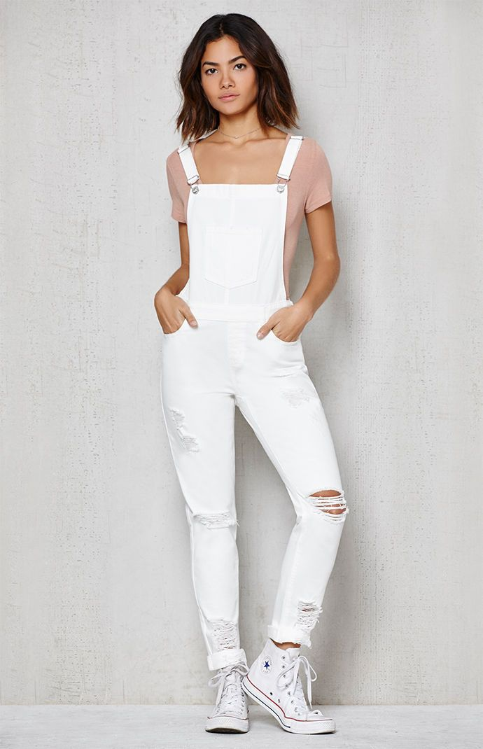 great variety styles pretty cheap run shoes White Ripped Skinny Overalls | the way I would like to dress ...