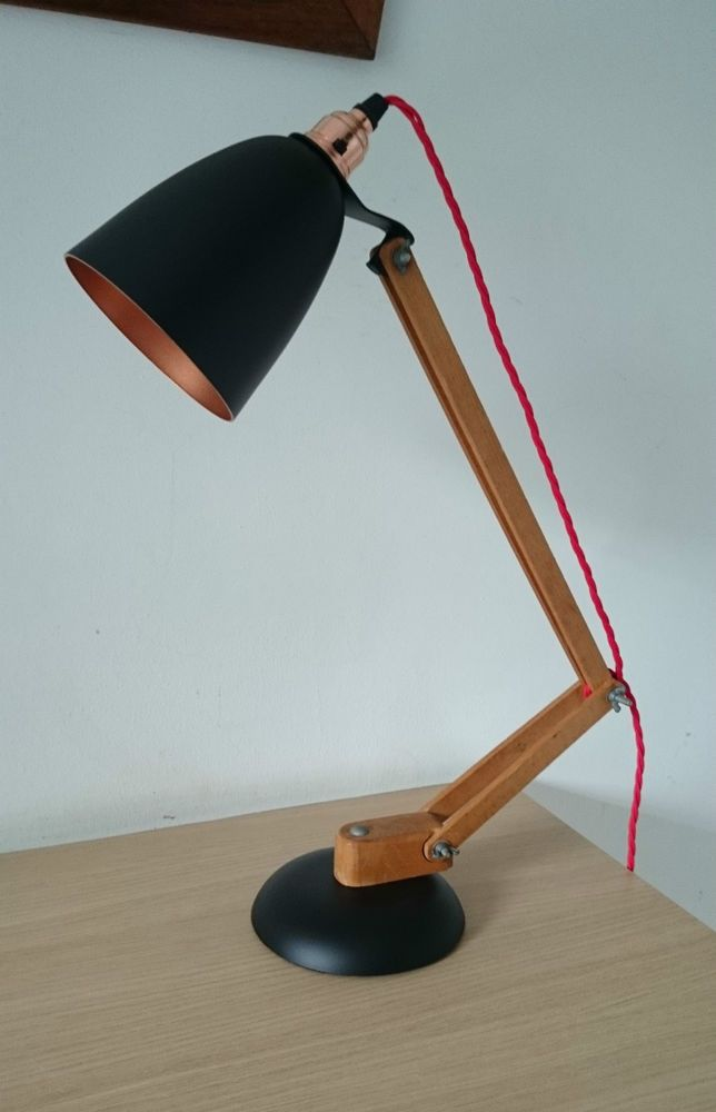 1960s Vintage Desk Lamp Wooden Arm Maclamp By Terence Conran Eames Stilnovo In 20th Century