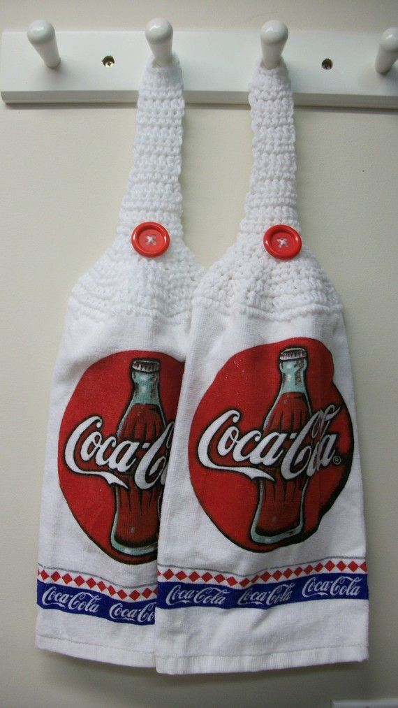 Coke || Coca Cola Hand Towels Set Of 2 By Craftysandy On Etsy, $ 5.95 So  Need To Get These For My Bf GMA For Xmas :)