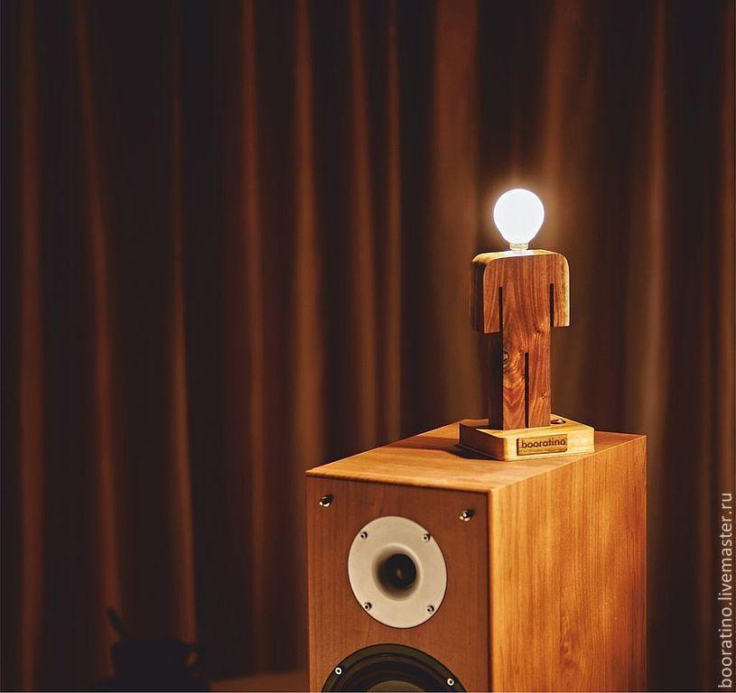 Купить Деревянный светильник Man (орех) - светильник, лампа, из дерева, man, booratino, дерево, интерьер