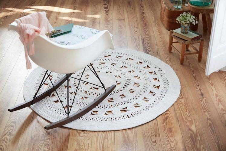 Teppich Crochet Style Esprit Rund Hohe 8 Mm Weisser Teppich