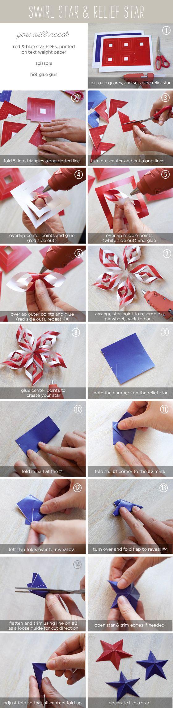 July 4th paper star tutorial kar csony pinterest - Pinterest basteln mit papier ...