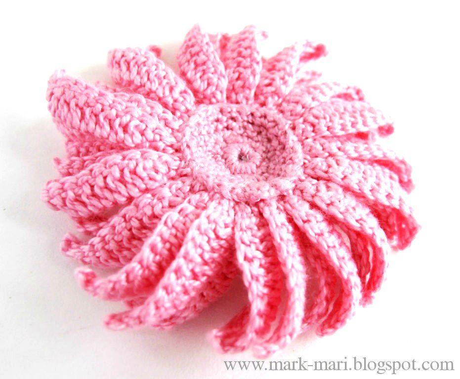 Flor Espiral de Crochet - Patrones Crochet | flores crochet ...