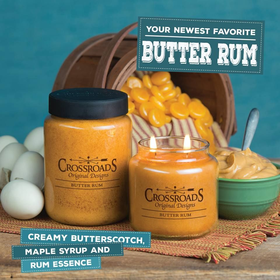 Crossroads 16 Ounce Butter Rum Scented Jar Candle Fragrance Is Creamy Butterscotch Maple Syrup And Rum E Candle Jars Crossroads Candles Scented Candle Jars