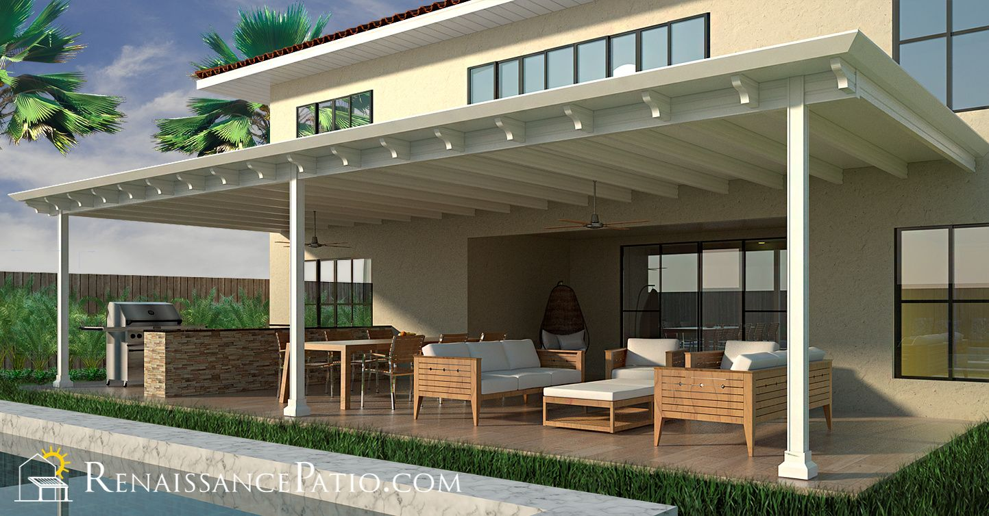 Our flagship solid roof, patio cover system, the