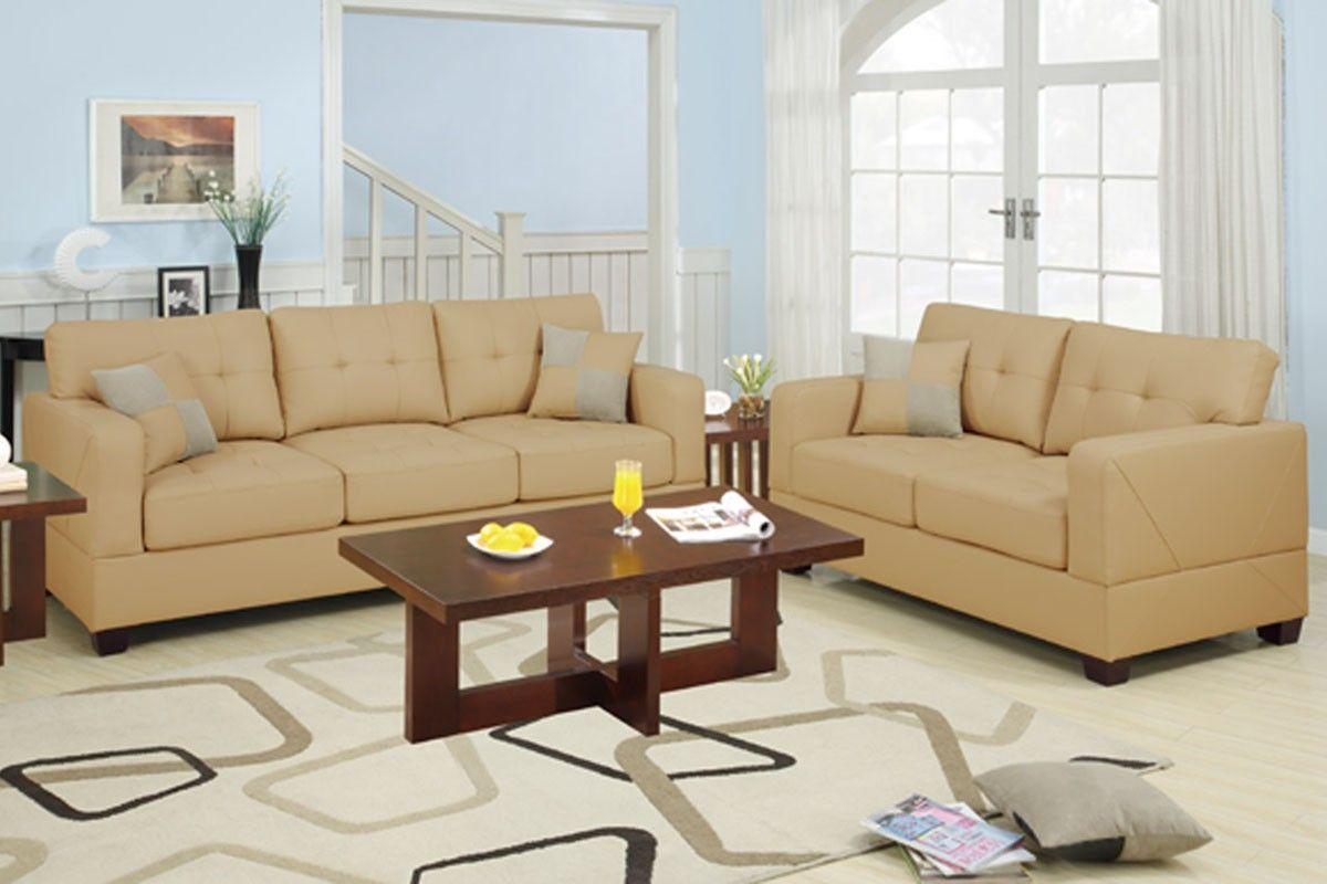 Cream Color Leather Sofa Set