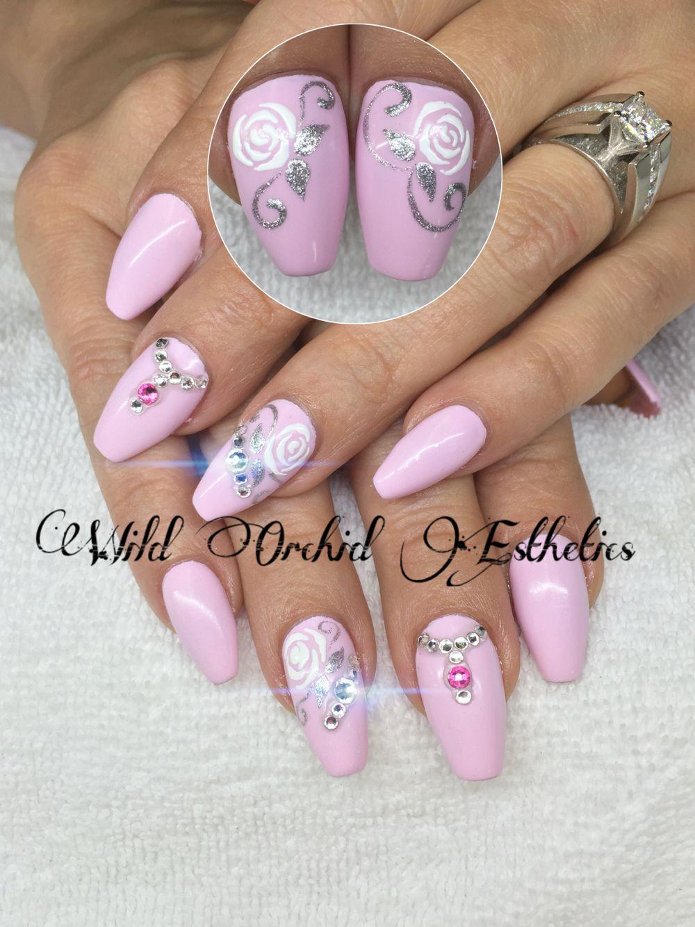 Ballerina nails. Hand painted nail art. Flowers. Swarovski crystals ...