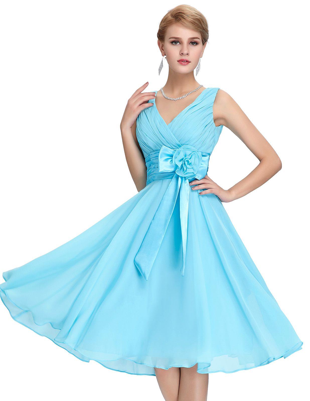 6bcc79e4715 Sky Blue V-Neck Chiffon Simple Short Homecoming Dress A Line Knee-Length  Prom Dress Mini