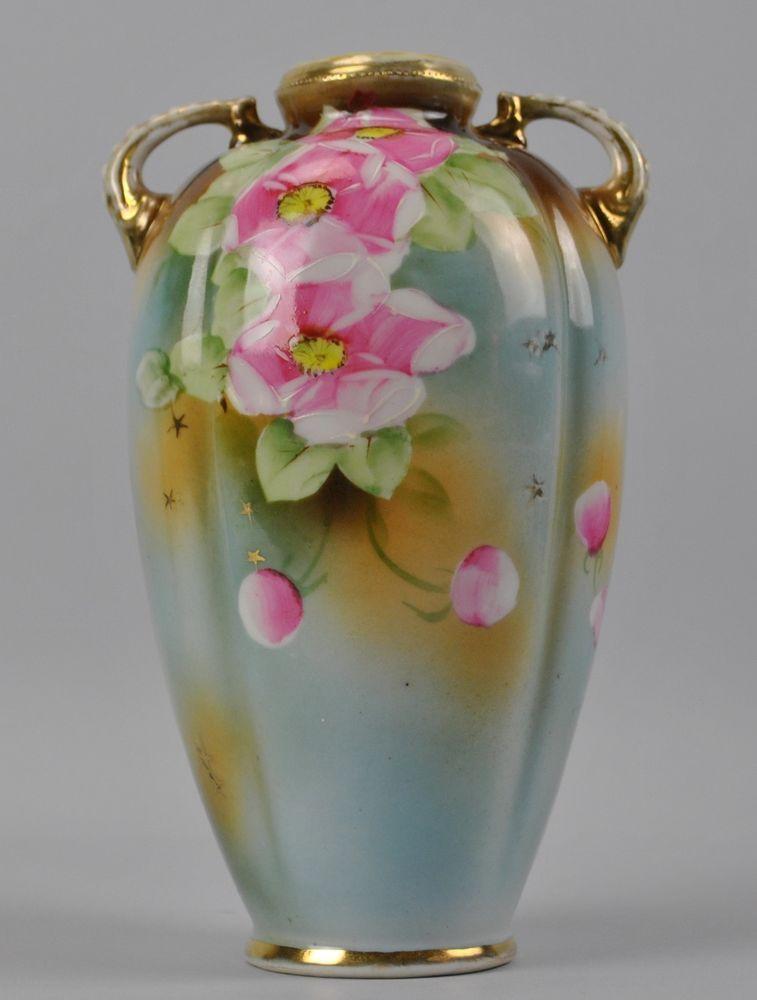 Noritake Hand Painted Floral Vase Maple Leaf Nippon C1891 Van