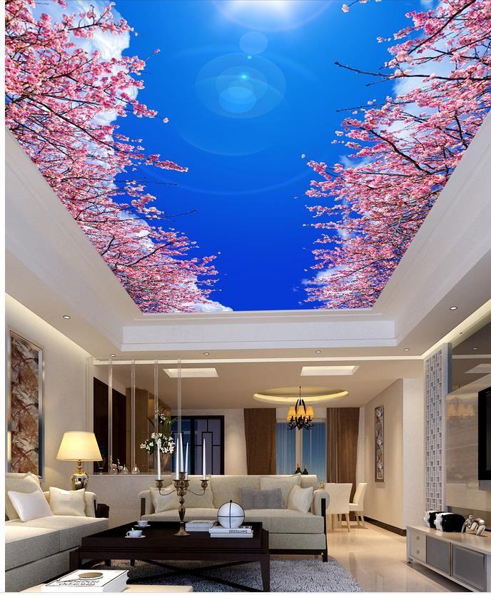 stunning belle bleu ciel cerise plafonds paysage peintures murales de papier peintu with papier. Black Bedroom Furniture Sets. Home Design Ideas