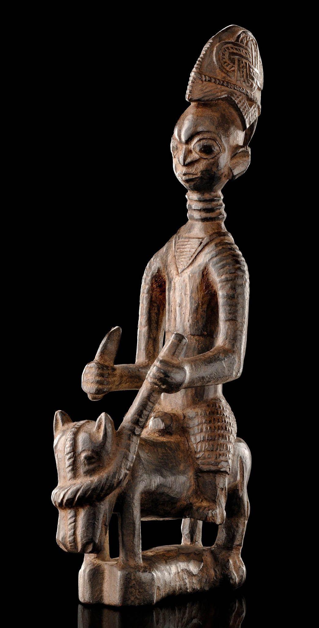 Africa Equestrian figure from the Yoruba people of Nigeria Wood