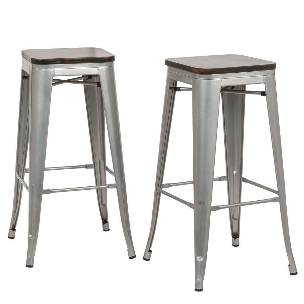 Carolina Forge Cormac 30 In Rustic Silver Wood Seat Bar