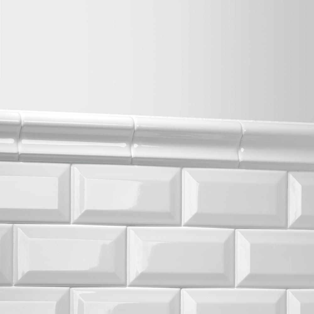 Daltile Finesse Bright White 2 In X 6 Ceramic Chair Rail Trim