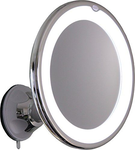 10x Magnifying Lighted Makeup Mirror With Chrome Finish Locking Suction Mount And Ball Join Makeup Mirror With Lights Makeup Mirror Wall Mounted Makeup Mirror