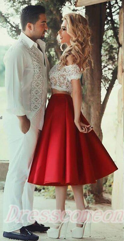 d98621e6b8e Homcoming Dresses A-Line Lace Vestido Coctel Corto Red Skirt Two Piece White  Short Graduation Knee-Length Party Gowns Dress