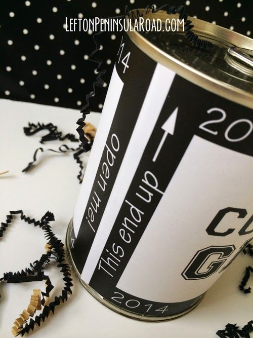 Easy DIY: Surprise in a Can Grad Gift. Fun way to wrap cash or gift cards. Includes free printable.