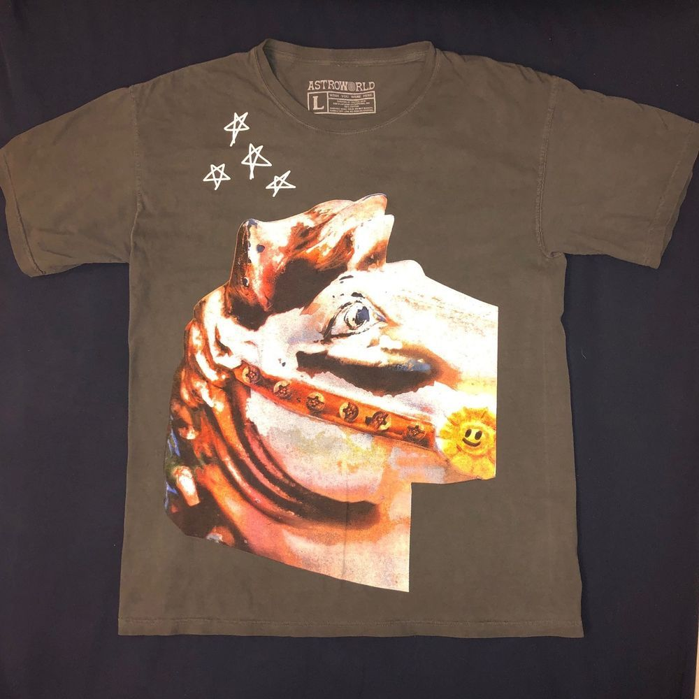 522044c3ac2f TRAVIS SCOTT ASTROWORLD T-SHIRT 2018 Exclusive Tour Merch Horse Logo Size  Large #fashion #clothing #shoes #accessories #mensclothing #shirts (ebay  link)