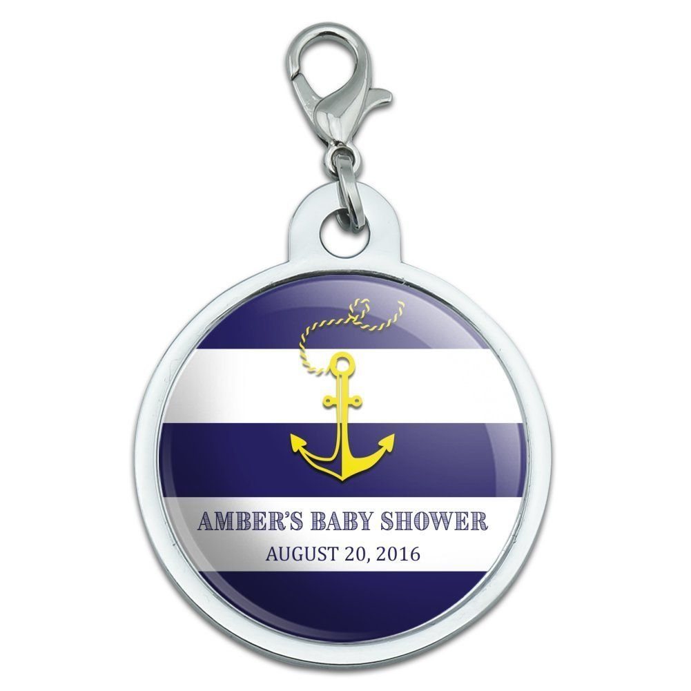 Graphics and more personalized custom nautical anchor blue stripes graphics and more personalized custom nautical anchor blue stripes shower wedding birthday chrome plated metal small buycottarizona Gallery