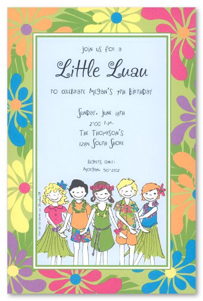 Little Luau Birthday Party Invitations