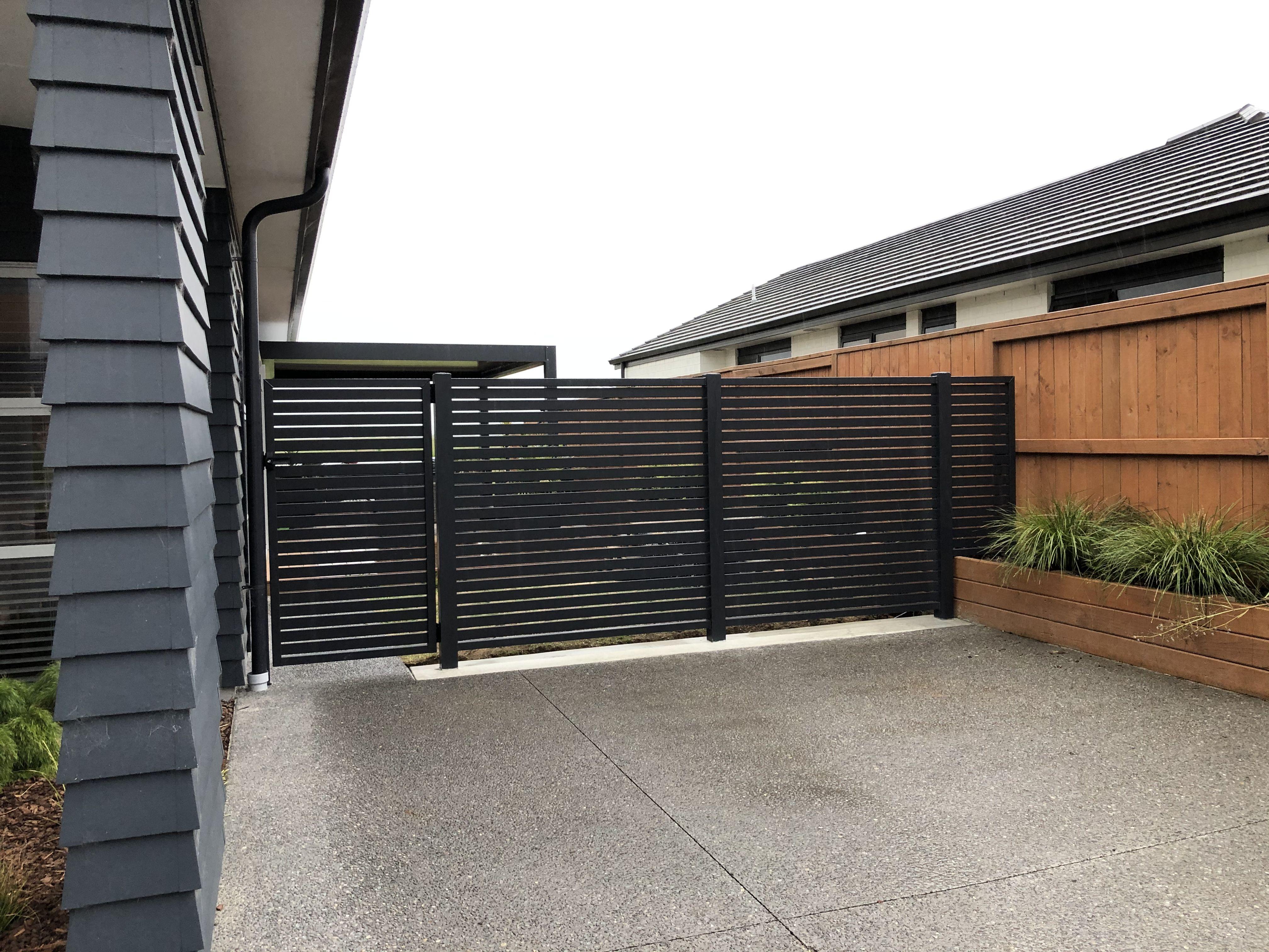 Slat Fence And Gate Fence Design Fencing Gates Fence
