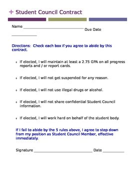 Student Council Contract Doc  Students Teacher Tools And Teacher