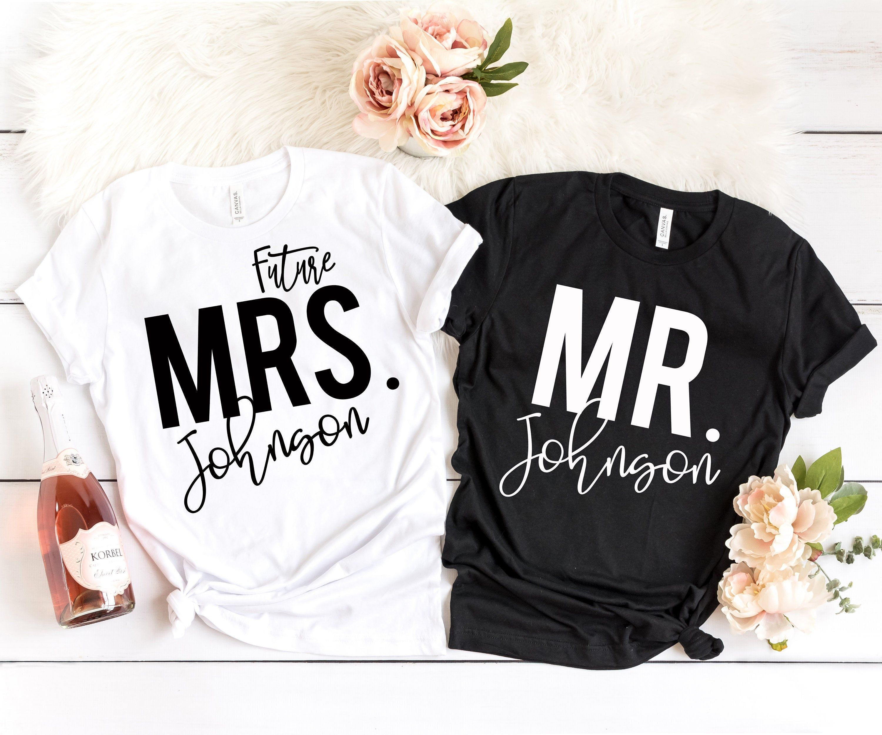 LAST NAME T-Shirt for Bride Engagement Shirt Gift Personalized Tee Future Mrs